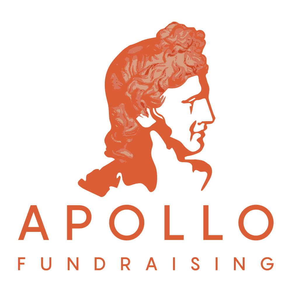 The logo of Apollo Fundraising - a burnt orange monochrome profile of the Greek God Apollo, based on the Apollo Belvedere statue found at the Vatican