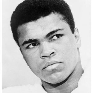 A black and white photo of Muhammad Ali