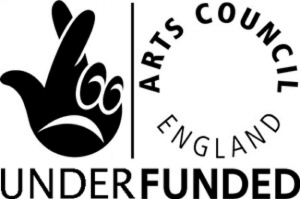 "A parody of the National Lottery and Arts Council England logo. The words ""Lottery Funded"" have been replaced with ""Under Funded"""