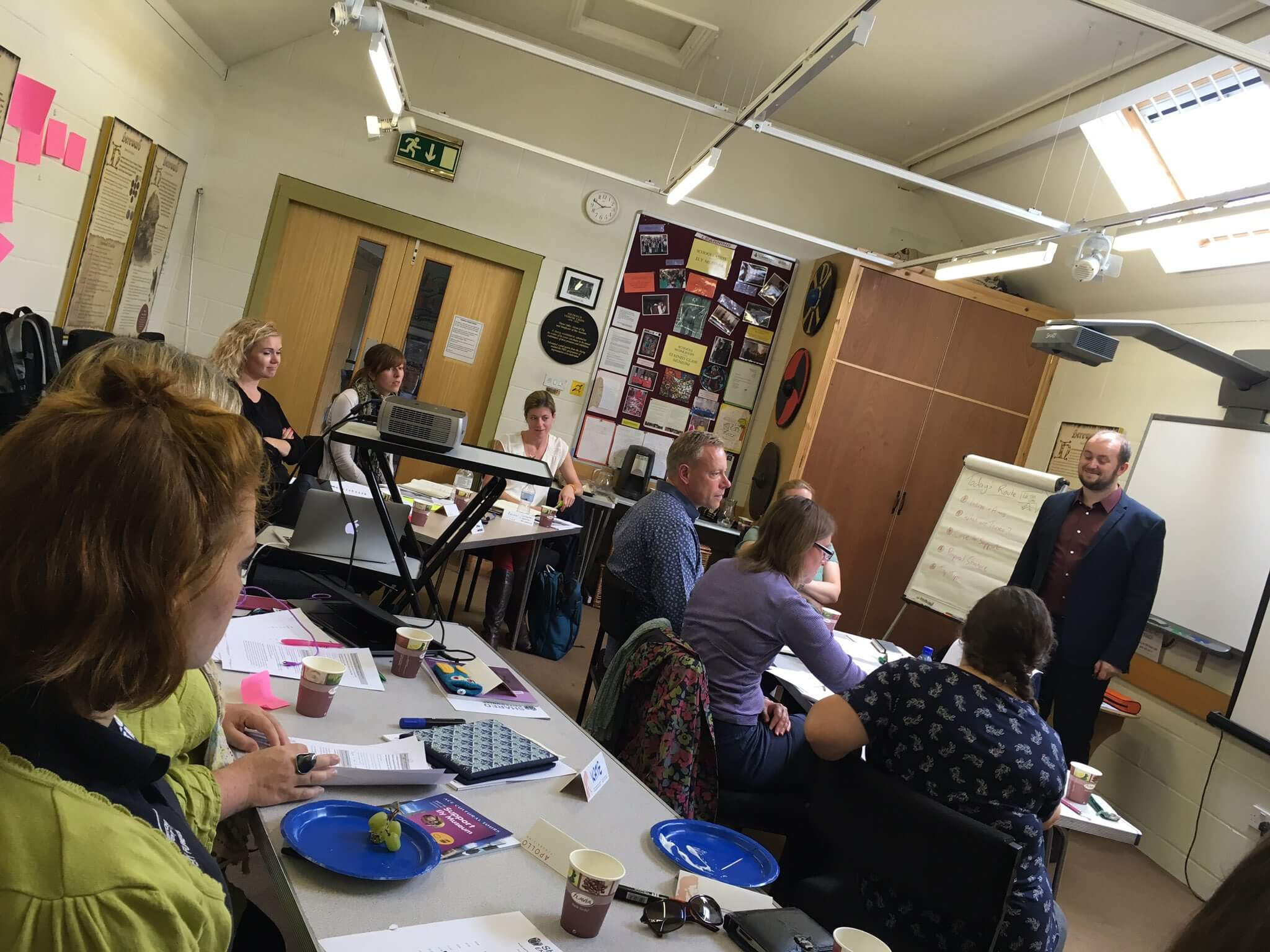 David delivering a training session for a group of 20 museum fundraisers