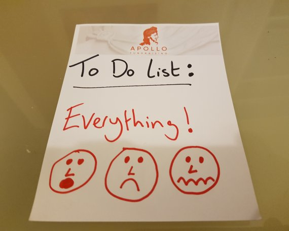 """A To Do list. The only entry on the 'to do' list says """"Everything!"""""""