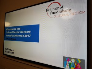 A digital screen welcomes delegates to the 2017 Cultural Sector Network conference
