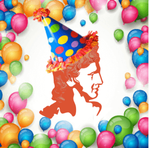 The Apollo Fundraising logo (a burnt orange profile of the Apollo Belvedere) is shown wearing a party hat, surrounded by brightly coloured balloons