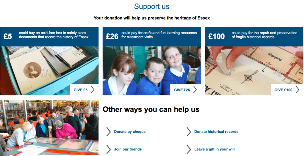 The Support Us page from Essex Record Office's website. There are three suggested donation amounts, showing clearly what impact this would have for the organisation