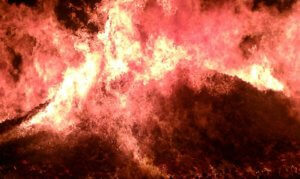 A raging fire