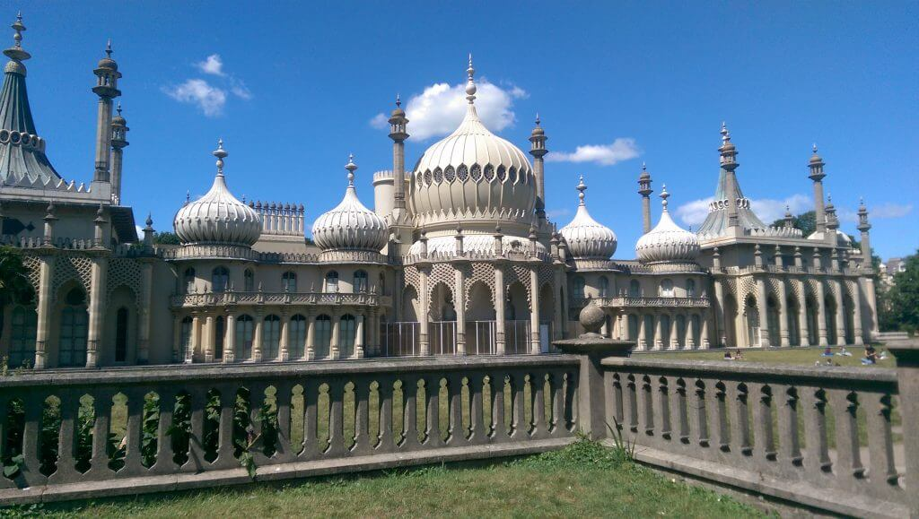 The Royal Pavilion in Brighton, with its famous onion-shaped domes and towering minarets