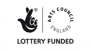The logo of the Arts Council England and the National Lottery