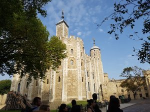 The outside of the famous White Tower at the Tower of London