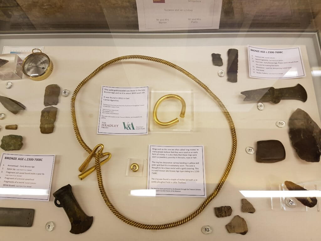The large Bronze Age Gold Torc on display at Ely Museum